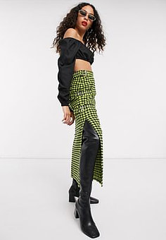 The Ragged Priest midi skirt with chain in check-Green
