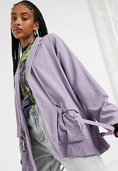 The Ragged Priest relaxed blazer with clips co-ord-Purple