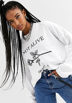 The Ragged Priest relaxed long sleeve t-shirt with not alive rose print-White