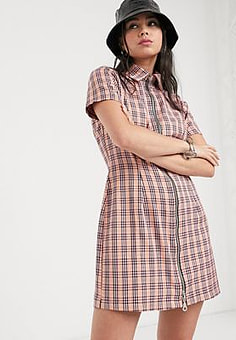 The Ragged Priest zip front shirt dress in pink check