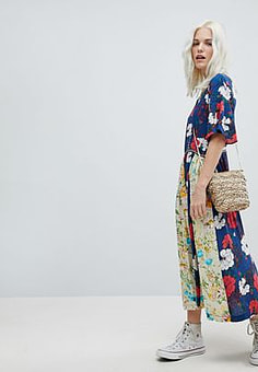 Trollied Dolly Boho Pleated Midi Dress In Mix And Match Floral Print-Navy