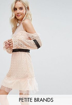 True Decadence Cold Shoulder All Over Lace Mini Dress With Contrast Waistband And Mesh Hem-Pink