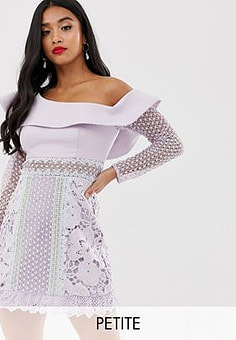 True Decadence exaggerated one shoulder mini dress with contrast lace panels in tonal lilac-Purple