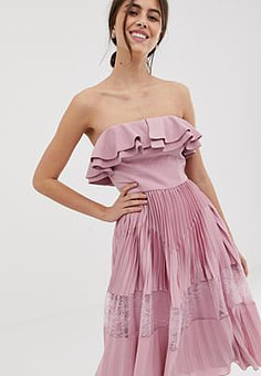 True Decadence premium sleeveless dress with ruffle trim and lace insert pleated skirt in pink