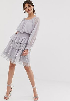 True Decadence premium square neck dress with ruffle and lace tiered skirt in lilac grey