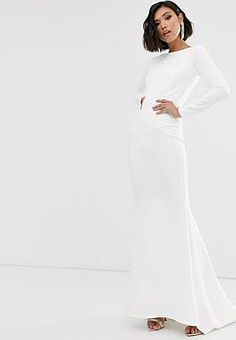 True Violet Black Label long sleeve maxi dress with fishtail in ivory-White
