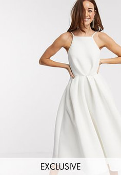 True Violet exclusive backless prom midi dress in ivory-White