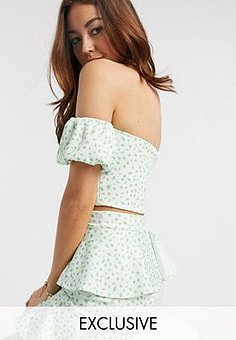 True Violet exclusive off shoulder puff sleeve crop top co ord in green fleck print