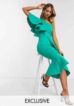 True Violet exclusive one shoulder ruffle midi dress in aqua-Green