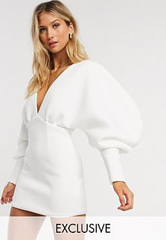 True Violet exclusive plunge neck balloon sleeve mini dress in white