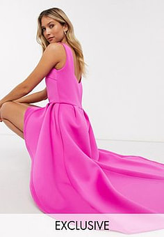 True Violet exclusive square neck high low maxi dress in hot pink