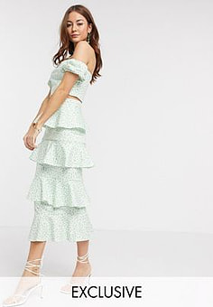 True Violet exclusive tiered ruffle midi skirt co ord in green fleck print