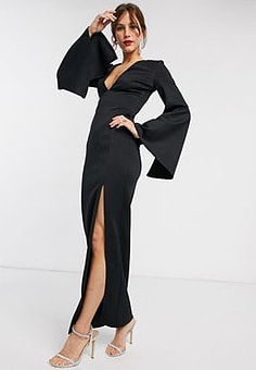 True Violet maxi dress with cape sleeve in Black