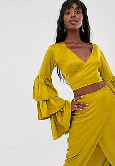Taller Than Your Average TTYA satin ruffle sleeve plunge front crop top in yellow
