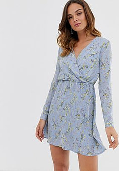 Uttam Boutique wrap front mini dress-Blue