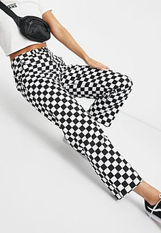 Vans Authentic checkerboard chino trousers in black/white-Blue
