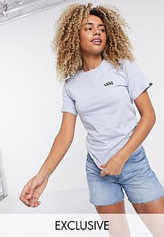 Vans Left Chest logo t-shirt in blue Exclusive at ASOS