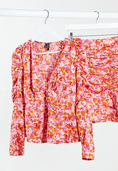Vero Moda co-ord blouse with puff sleeve in pink floral-Multi