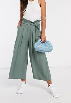 Vero Moda culottes with paper bag waist and belt in sage green