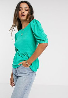 Vero Moda peplum top with lace back in green