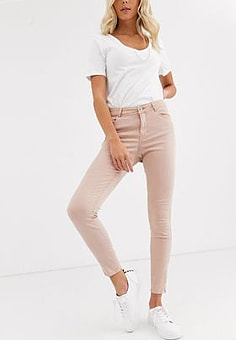 Vero Moda shaping zip ankle jeans-Pink