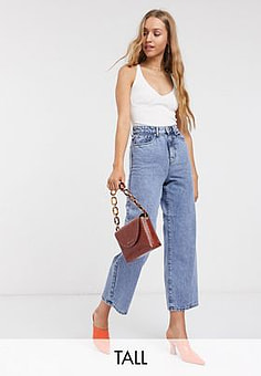 Vero Moda cropped wide leg jeans in blue acid wash