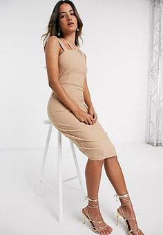Vesper Donna midi dress with cross front-Brown
