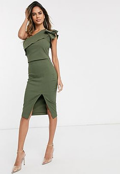 Vesper midi skirt co-ord in khaki-Green
