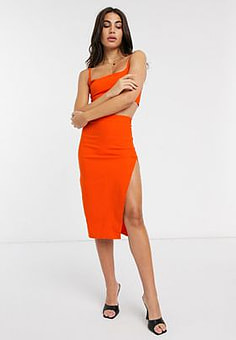 Vesper midi skirt with split in orange