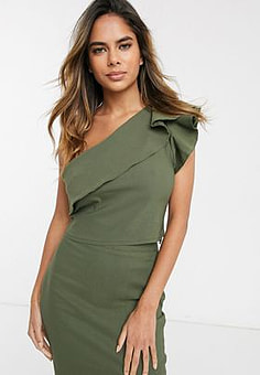 Vesper one shoulder crop top with frill detail co-ord in khaki-Green
