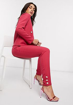Vesper tailored suit trousers in pink