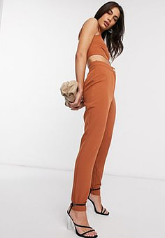 Vesper tailored trousers co-ord in brown