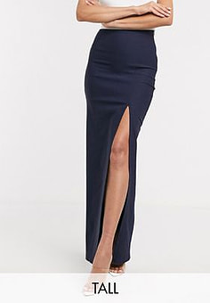 Vesper thigh split maxi skirt co ord in navy