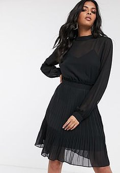 Vila chiffon mini dress with pleated skirt in black