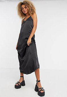Vila lace insert maxi dress in black