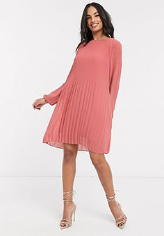 Vila mini dress with pleat detail in pink