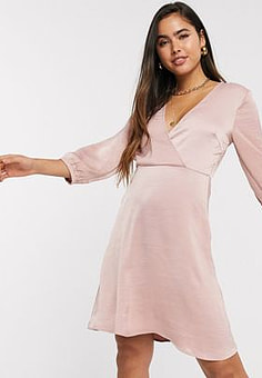 Vila mini dress with wrap detail in pink-Beige