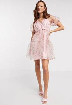 Vila oraganza mini dress in pink floral