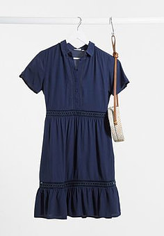 Vila shirt mini dress with tiered skirt and lace inserts in navy-Blue