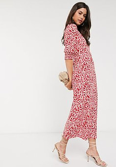 Vila v neck maxi dress in white floral-Black