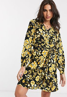 Vila wrap mini dress with belted waist in yellow floral-Black