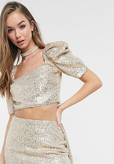 Virgos Lounge embellished crop top co-ord in gold sequin