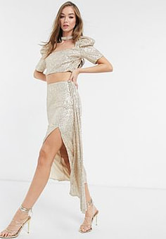 Virgos Lounge embellished tiered skirt co-ord in gold sequin