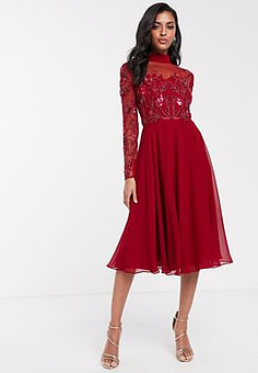 Virgos Lounge long sleeve mesh detail skater dress in red