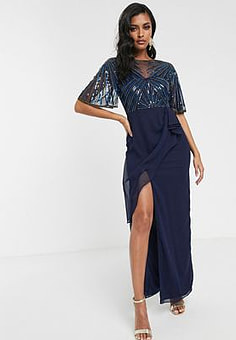 Virgos Lounge ruched side detail with sheer overlay maxi dress in navy