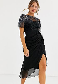 Virgos Lounge ruched side detail with sheer overlay midi dress in black