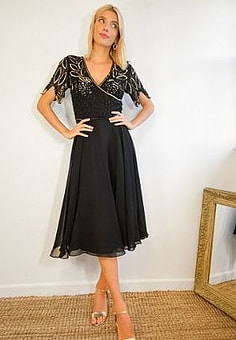 Virgos Lounge wrap front embellished midi dress with pleated skirt in black