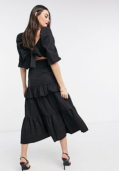 Virgos Lounge VL The Label puff sleeve volume bow back tiered frill midi dress in black