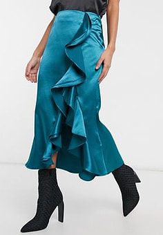 Virgos Lounge VL The Label satin ruffle front midi skirt with thigh split in teal-Green