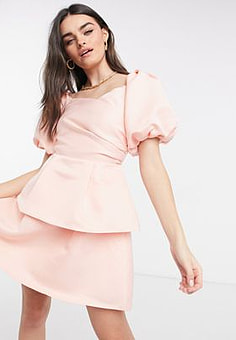 Virgos Lounge VL The Label volume sleeve mini tiered skater dress in baby pink